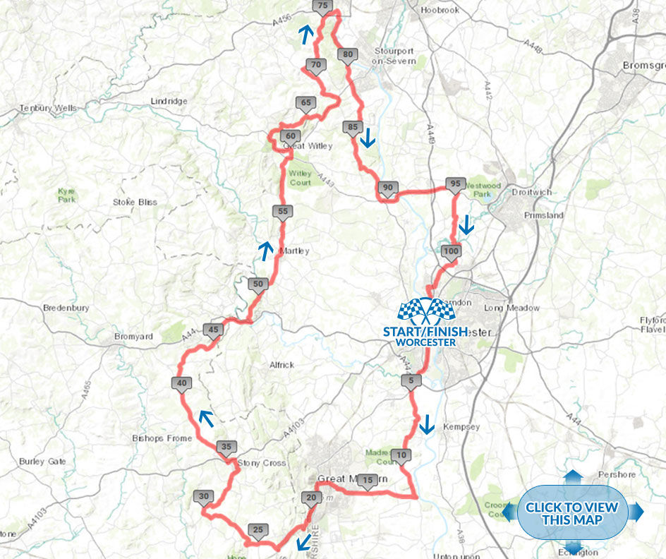 Tour of Worcester cycle sportive Gallop Route