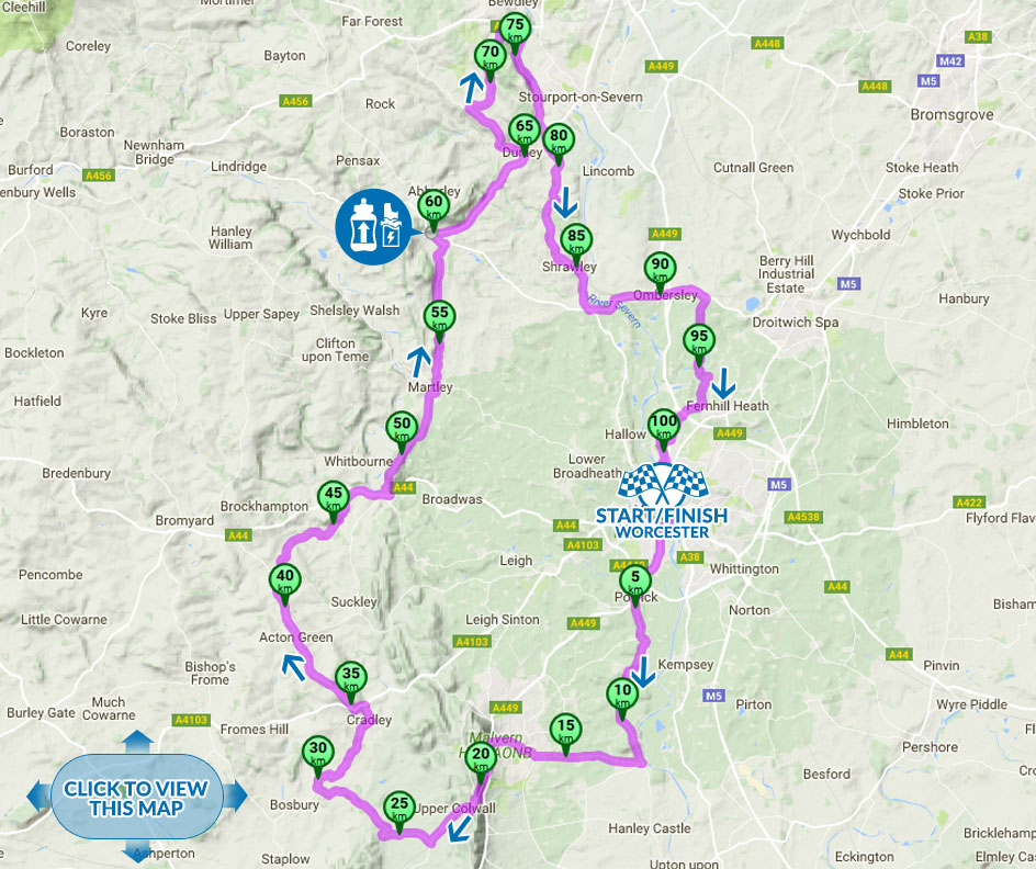 Tour of Worcester cycle sportive medium Route